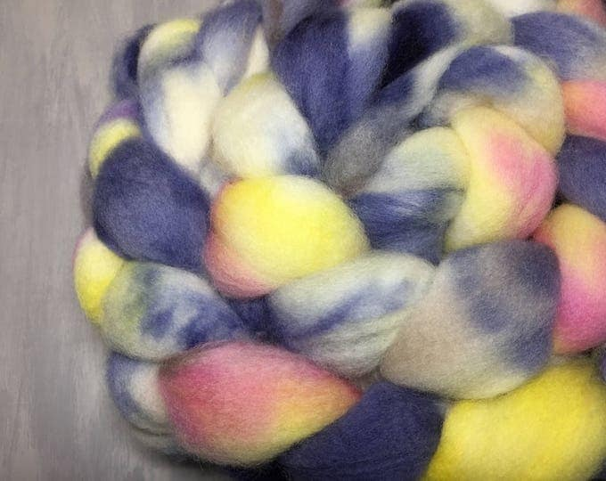 Borealis - Hand dyed BFL Wool Top - Super Soft Spinning Fiber