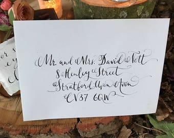 Hand lettered tradtional calligraphy envelope addressing