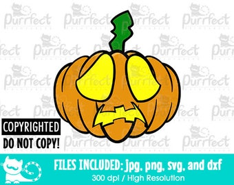 Halloween Pumpkin Sad SVG, Digital Cut Files in svg, dxf, png and jpg, Printable Clipart
