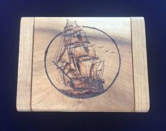 Myrtlewood Wood- Burned Jewelry Box, Oregon Myrtlewood Ship Design