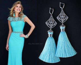 Blue Silk Tassels with Cubic Zirconia 925 Silver Plated Details