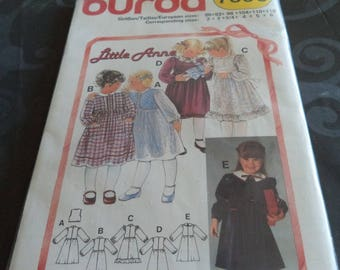 long burda sleeves dress pattern size 3 to 6 years new cut