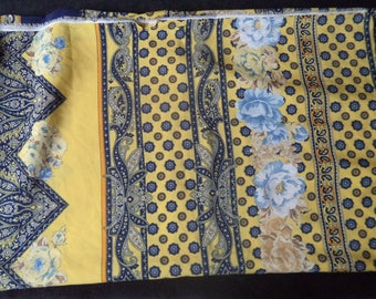 Provence fabric Navy Blue and yellow 1 m 20 x 1 m 40 new
