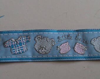 light blue ribbon with a teddy bear and baby width 2.5 cm new patterns