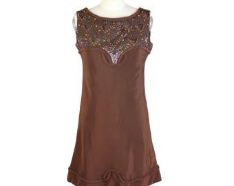 Artisanal a line viscose paillettes brown dress size 44 women' s vintage 1980s