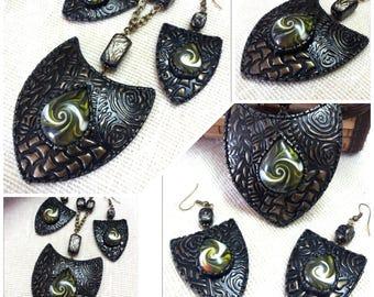 Polymer clay jewelry . Pendant and earrings.  Black set. Metal set. Black earrings.