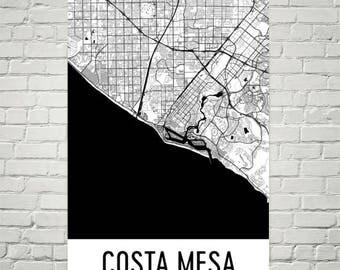 Costa Mesa Map, Costa Mesa Art, Costa Mesa Print, Costa Mesa CA Poster, Costa Mesa Wall Art, Costa Mesa Gift, Map of California, Poster