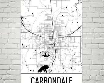 Carbondale IL Map, Carbondale Illinois Art, Carbondale Print, Carbondale Poster, Wall Art, Illinois Gifts, Map of Illinois, Illinois Decor
