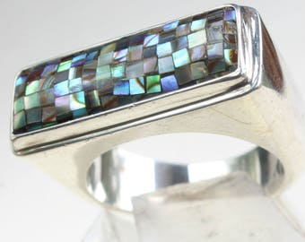 Sterling Silver Ring Abalone Mosaic Inlaid