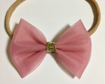 Tulle bow/ pink tulle bow with gold glitter center/ available on nylon headband or alligator clip