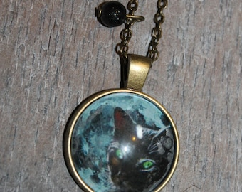 """Necklace glass cabochon with """"midnight cat"""""""