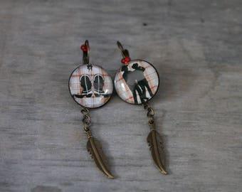 Country Dance - Earrings metal bronze color.