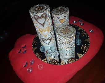 Real henna painted decorated heart pillar candles with mirror plate