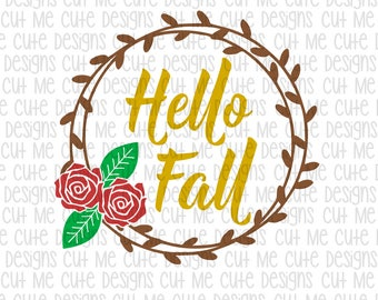 SVG DXF PNG cut file cricut silhouette cameo scrap booking Hello Fall Floral Wreath