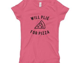 Will Plie for Pizza Girl's T-Shirt