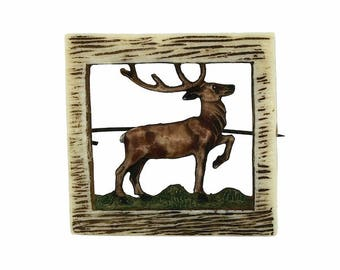 1940s Vintage Celluloid Stag Brooch