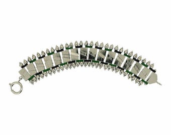 Jakob Bengel 1930s Chrome and Enamel Vintage Bracelet