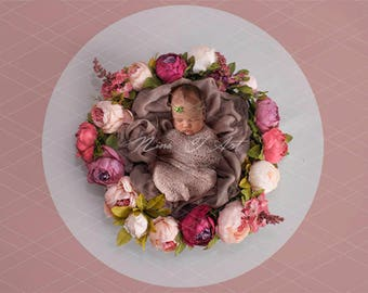 Digital Backdrop newborn girl Background spring floral wreath newborn Photography prop download High resolution jpg file 3