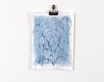 Blue Blind Contour Botanical