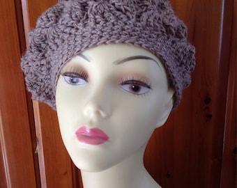 Ladies hand crochet chunky beret beanie hat hand made in walnut brown beige