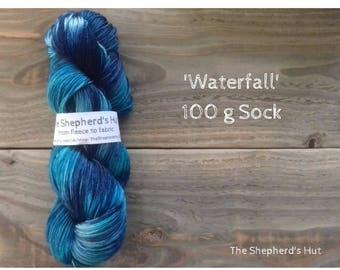 Superwash Merino/Nylon 80/20 Sock yarn 100g in 'Waterfall' colour way.