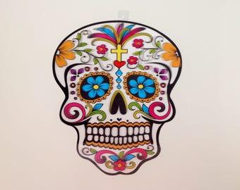 Sugar Skull Decor Day of the Dead Halloween Decor Calavera Dia de los Muertos Mexican Decoration Mexican Sugar Skull Plastic Wall Decoration