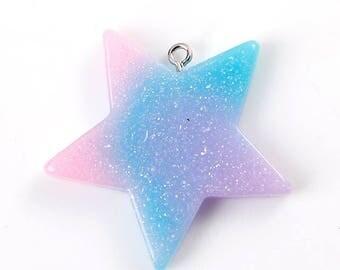 Multicolor Glitter Resin Star Charm Pendants 39x37mm