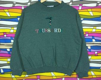 Rare!! Vintage TRUSSARDI Sweatshirt Spellout Embroidery Big Logo Medium Girls