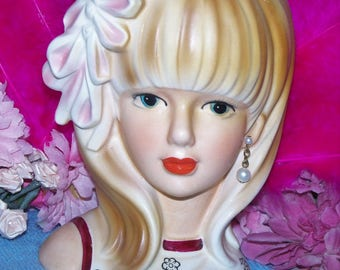 "Authentic Japan Wreath Rare 6"" Lady Head vase 1950's Headvase Pink Floral Hair Clip Blonde Blue eyes"