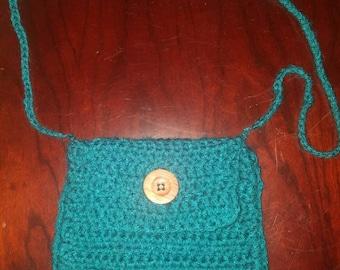 Teal Crochet Satchel