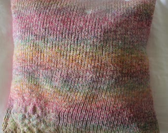 Rainbow, knitted upcycled cushion cover - handmade ecofashion (comes with recycled cushion)