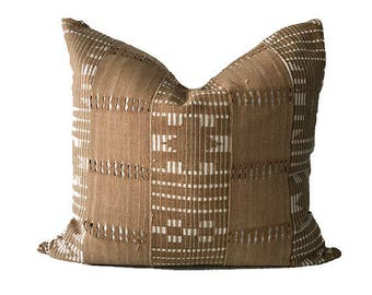 Eruku - Beige and White Striped Vintage African Cloth Aso-Oke Pillow, High Quality Italian Linen Back Fabric, Mud Cloth Style