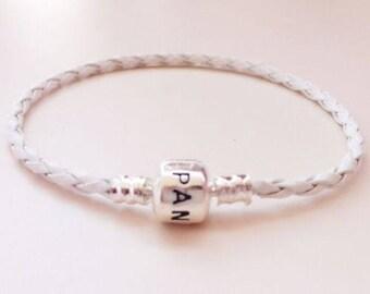Pandora Style Bracelet // White Leather Charm Bracelet // 7-8 inch // 1 Bracelet // Murano and Lampwork inspired