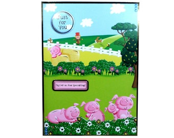 Birthday card, pigs card, childs birthday card, childrens birthday, just for you, handmade card