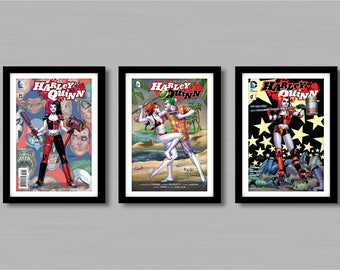 Harley Quinn Comic Cover Prints Set Of 3 - Size A4/A3 -  Unframed.