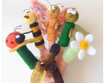 Finger puppets The little creatures of the garden/small animals of the garden - felted wool and knitted finger puppets