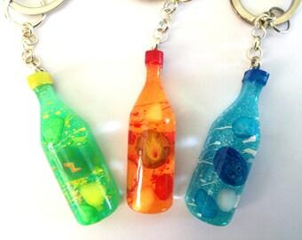 Pokemon Evolution Stones Resin Bottle Keychain - Fire Thunder Water stone