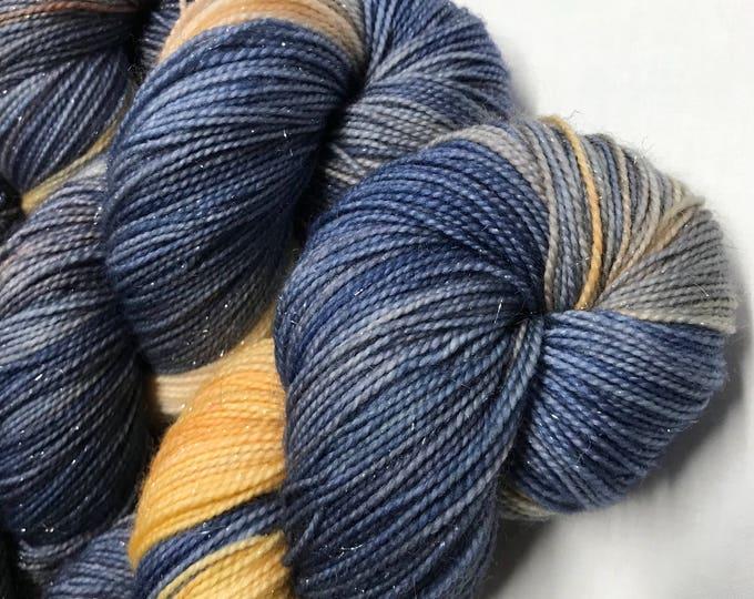 100g Superwash Merino / Nylon / Silver Stellina Sparkle Sock Yarn 4 ply, fingering, hand dyed in Scotland, navy, grey, apricot, peach,