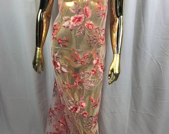 Lace Fabric - Floral/Flower Multi-Color Pink Embroidered Mesh For Dress Bridal Veil Wedding Decoration By The Yard