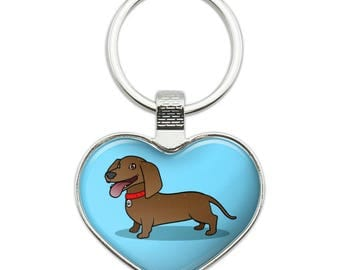 Dachshund Wiener Dog Cartoon Heart Love Metal Keychain Key Chain Ring
