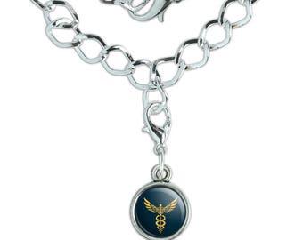 Caduceus Medical Symbol Doctor Nurse EMT Silver Plated Bracelet with Antiqued Charm