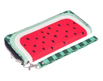 Watermelon wallet with wrist strap handle