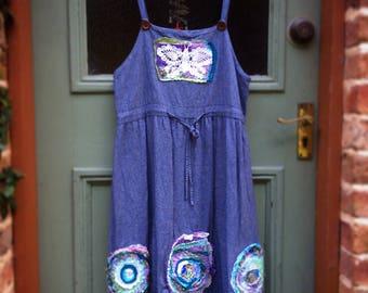 Embellished Upcycled Denim Pinafore Vintage