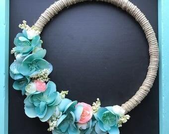 Aqua Wreath, Flower Wreath, Apple Blossoms, Pink Flowers, Aqua Flowers, White Flowers, Gallery Wall, Embroidery Hoop, Photo Prop, Flowers
