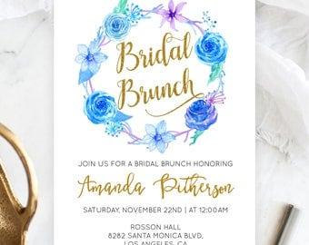Blue Floral Wedding Invitation - Bridal Brunch Invitation  -  Flower Wreath - Winter Wedding Invitation - Downloadable wedding #WDHSN8186