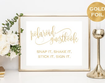 Polaroid Wedding Guestbook Sign Printable - Photo Guestbook Sign - Reception Sign - Gold Foil Wedding - Downloadable wedding #WDH878PL84