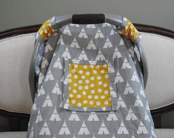 Car Seat Cover, Canopy, Boy, Girl, Neutral, Snug Fit, Window, Teepee, Grey, Mustard, Yellow, Polka Dot