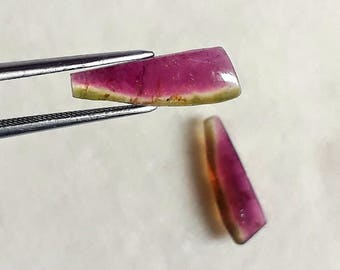 3.70Cts Natural Watermelon Tourmaline Gemstone Tourmaline Cabochon Slice Pair Loose Bi-Color Tourmaline Slice Jewelry Tourmaline 5X15.50 MM