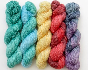 Set of five 10g mini skeins on merino and bamboo blend 4ply knitting wool yarn in bold colours