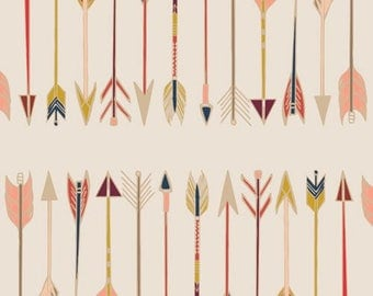 Arrow Fabric -Wild and Free, Art Gallery -Modern Cotton Fabric -Pink ,coral,Cream
